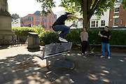Skateboarders in the UK City of Culture 2021 on 23rd June 2021 in Coventry, United Kingdom. The UK City of Culture is a designation given to a city in the United Kingdom for a period of one year. The aim of the initiative, which is administered by the Department for Digital, Culture, Media and Sport. Coventry is a city which is under a large scale and current regeneration.