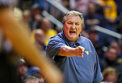 Jan 21, 2019; Morgantown, WV, USA; West Virginia Mountaineers head coach Bob Huggins argues a call during the first half against the Baylor Bears at WVU Coliseum. Mandatory Credit: Ben Queen-USA TODAY Sports