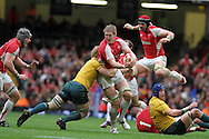Bradley Davies of Wales tries to break past Australia's David Pocock .Invesco Perpetual series, autumn international, Wales v Australia at the Millennium Stadium in Cardiff on Sat 6th Nov 2010.  pic by Andrew Orchard, Andrew Orchard sports photography,