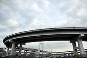 circular ramp high way leading to the Rainbow bridge Odaiba Tokyo Japan