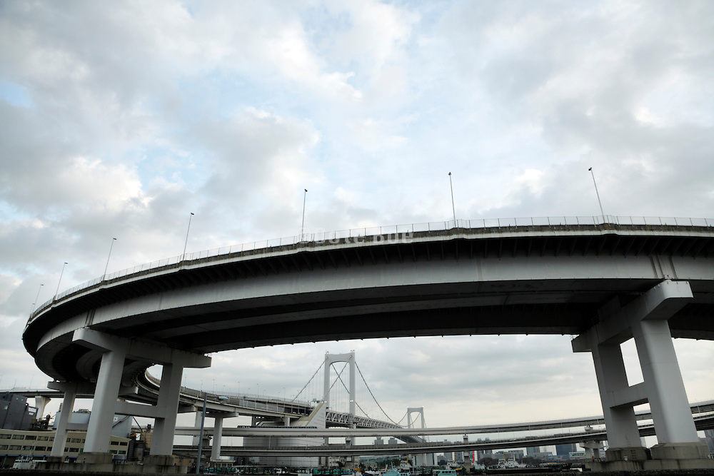 circular ramp high way leading to the Rainbow bridge Odaiba Tokyo Japan