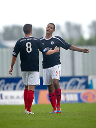 Falkirk's Lyle Taylor celebrates after scoring their second goal with Falkirk's Stewart Murdoch..Falkirk 3 v 0 Stirling Albion, Ramsdens Cup..© Michael Schofield.
