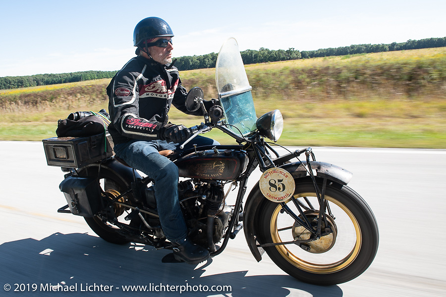 Jason Wadzinski riding his 1924 Indian in the Motorcycle Cannonball coast to coast vintage run. Stage 5 (229 miles) from Bowling Green, OH to Bourbonnais, IL. Wednesday September 12, 2018. Photography ©2018 Michael Lichter.