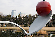 "Minnesota, USA, Minneapolis, ""Spoonbridge and Cherry"" by Claes Oldenburg and Coosje van Bruggen. in the Loring Park sculpture garden. November 2006"