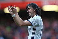 Jose Emilo Amavisca of Real Madrid legends team shows his appreciation to the fans at the end of the game. Liverpool Legends  v Real Madrid Legends, Charity match for the LFC Foundation at the Anfield stadium in Liverpool, Merseyside on Saturday 25th March 2017.<br /> pic by Chris Stading, Andrew Orchard sports photography.