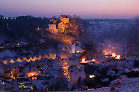 Pottenstein, Franconia, Bavaria, Germany - annual Ewige Anbetung fire festival on the evening of January 6th, 2009
