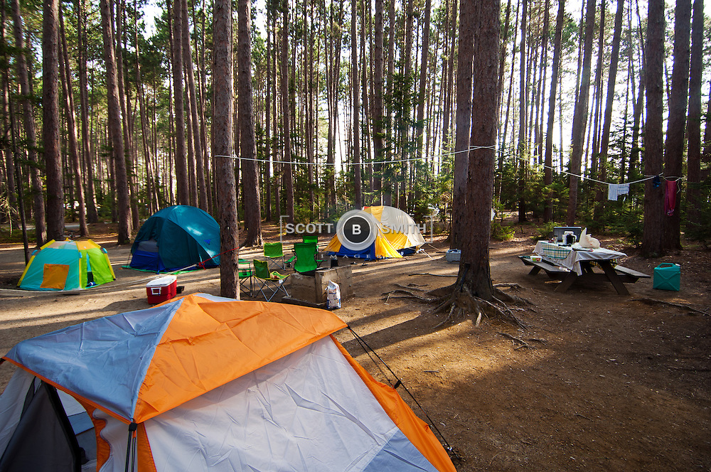 Small campsite with four tents inside the Cathedral Pines Campground located near the Maine communities of Eustis and Stratton.