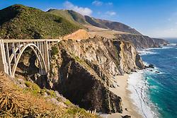 Bixby Creek Bridge, beach, Big Sur coast, California, USA, Pacific Ocean
