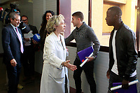Getafe CF's Francisco Portillo and Amath Ndiaye during the Christmas visit to the Children's Hospital of the city. December 12,2017. (ALTERPHOTOS/Acero)