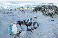 An illegal poachers fireplace along the coastline, Arniston, Western Cape, South Africa,