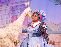Mother Goose <br /> at the Hackney Empire, London, Great Britain <br /> press photocall<br /> 20th November 2014 <br /> <br /> <br /> Alix Ross as Priscilla (the Goose) <br />  Clive Rowe as Mother Goose <br /> <br /> <br /> Photograph by Elliott Franks <br /> Image licensed to Elliott Franks Photography Services