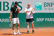 Novak Djokovic (SRB) an Andre Kirk Agassi (USA) new trainer of Novak Djokovic (SRB) at practice on court 5 during the Roland Garros French Tennis Open 2017, preview, on May25, 2017, at the Roland Garros Stadium in Paris, France - Photo Stephane Allaman / ProSportsImages / DPPI