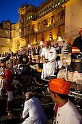 Shriji Arvind Singh Mewar of Udaipur, Custodian of the House of Mewar, at Hindu Holi Fire Festival, City Palace, Rajasthan India