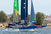 SailGP USA Team and SailGP Australia Team on day two of competition. Event 1 Season 1 SailGP event in Sydney Harbour, Sydney, Australia. 16 February 2019. Photo: Chris Cameron for SailGP. Handout image supplied by SailGP
