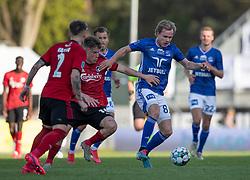 Gustav Marcussen (Lyngby Boldklub) følges af Pep Biel (FC København) under kampen i 3F Superligaen mellem Lyngby Boldklub og FC København den 1. juni 2020 på Lyngby Stadion (Foto: Claus Birch).