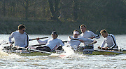 PUTNEY, LONDON, ENGLAND, 18.03.2006, Pre 2006 Boat Race Fixture, Cambridge UBC vs Leander BC. Leander's, Steve Rowbothan [left] and matt Landgridge, struggle to regain control, after a clash of blades with the Cambridge Blue Boat, during the race over part of the Championship Course 4.1/4 mls from Putney to Mortlake.   © Peter Spurrier/Intersport-images.com..[Mandatory Credit Peter Spurrier/ Intersport Images] Varsity Boat Race, Rowing Course: River Thames, Championship course, Putney to Mortlake 4.25 Miles