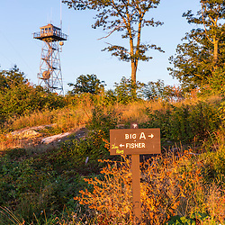 A fire tower and the Big A trail on the summit of Mount Agamenticus in York, Maine.