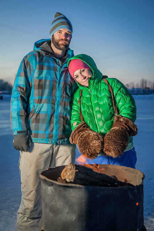 """""""We hooked up right after Sean arrived in Anchorage and now we are trying to envision our lives together after hockey""""  -Emily Thompson with professional hockey player, Sean Curry, at Westchester Lagoon, Anchorage  akemilyt@gmail.com"""