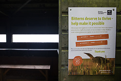 A notice calls for support for bitterns outside a bird hide at Calvert Jubilee Nature Reserve on 27 July 2020 in Calvert, United Kingdom. On 22nd July, the Berks, Bucks and Oxon Wildlife Trust (BBOWT) reported that it had been informed of HS2's intention to take possession of part of Calvert Jubilee nature reserve, which is home to bittern, breeding tern and some of the UK's rarest butterflies, on 28th July to undertake unspecified clearance works in connection with the high-speed rail link.