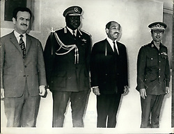 Jun. 06, 1972 - Heads Of The Confederation Of Arab Republics Continue Middle East Talks At Mersa Matrouh; The fourth session of the Presidential Council of Confederation of Arab Republics opened recently in Mersa Matrouh with a meeting in camera between th econ-federal heads of state President Anwar el Sadat, Libyan President Moammer el Geddafy and Syrian President Hafez el Assad. Earlier, the three leaders and President Idi Amin, Of Uganda, held a special two-hour meeting. Photo Shows From L to R: Syrian Hafez el Assad, Ugandian President Idi Amin, Egyptian President Anwar el Sadat, and Libyan President Moammer el Gedaffy. (Credit Image: © Keystone Press Agency/Keystone USA via ZUMAPRESS.com)
