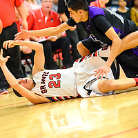 022514  Adron Gardner/Independent<br /> <br /> Grants Pirate Armando Ramirez (23), left, reaches up for a loose ball ahead of Miyamura Patriot Matthew Vail (10) at Grants High School in Grants Tuesday.