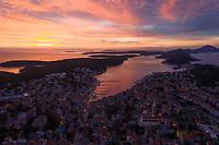 Aerial view of Mali Lošinj cityscape during a scenic sunset, Croatia.