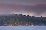 Coastal fog at sunrise over land and calm water, Point Reyes, Tomales Bay, Marin County, California