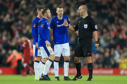 5th January 2018 - FA Cup - 3rd Round - Liverpool v Everton - Wayne Rooney of Everton (C) and Morgan Schneiderlin of Everton (2R) speak to referee Robert Madeley at half-time - Photo: Simon Stacpoole / Offside.