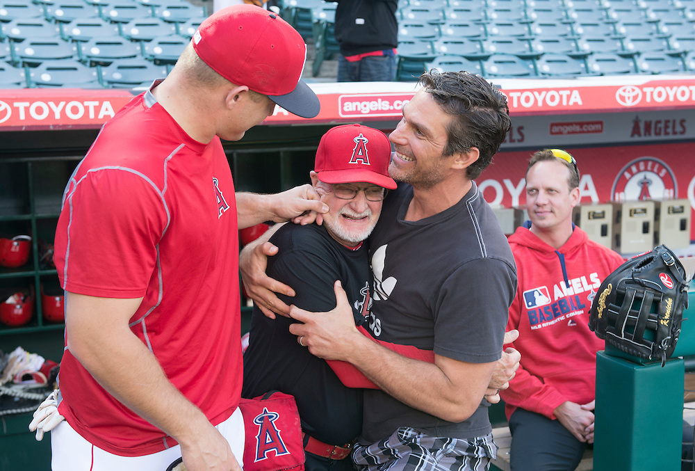 Mike Trout and former Angel Justin Spier joke around with trainer Rick Smith before the Angels game Saturday.<br /> <br /> ///ADDITIONAL INFO:   <br /> <br /> angels.0508.kjs  ---  Photo by KEVIN SULLIVAN / Orange County Register  --  5/7/16<br /> <br /> The Los Angeles Angels take on the Tampa Bay Rays at Angel Stadium Saturday.<br /> <br />  5/7/16