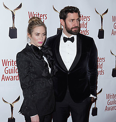 Emily Blunt and John Krasinski arrivals at the Writers Guild Awards 2019 in New York City, USA on February 17, 2019.