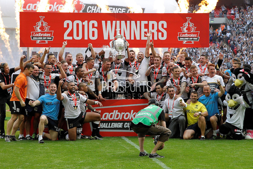 Challenge Cup celebrations at the end of the Challenge Cup Final 2016 match between Warrington Wolves and Hull FC at Wembley Stadium, London, England on 27 August 2016. Photo by Craig Galloway.