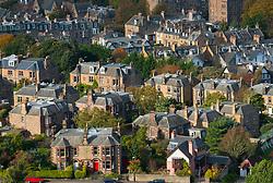 View of large villas in upmarket Morningside district of Edinburgh in Scotland, United Kingdom.