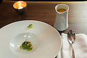 New York, NY, - December 8, 2013. Heirloom gazpacho with garden herbs and olive oil at The Musket Room, 265 Elizabeth St. The gazpacho soup is served separately, and is poured over the tomatoes and herbs in the bowl.