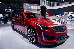 NEW YORK, USA - MARCH 23, 2016: Cadillac CTS-V on display during the New York International Auto Show at the Jacob Javits Center.