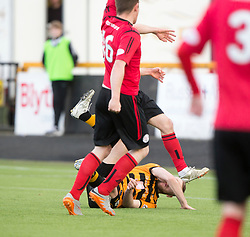 Alloa Athletic's Greg Spence scoring their third goal. Athletic 4 v 3 Brechin City (Brechin won 5-4 on penalties), Ladbrokes Championship Play-Off 2nd Leg at Alloa Athletic's home ground, Recreation Park, Alloa.
