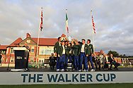 Team USA winners of the Walker Cup at the Walker Cup Award ceremony at Royal Liverpool Golf CLub, Hoylake, Cheshire, England. 08/09/2019.<br /> Picture Thos Caffrey / Golffile.ie<br /> <br /> All photo usage must carry mandatory copyright credit (© Golffile   Thos Caffrey)