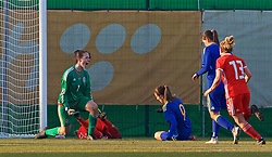 ZENICA, BOSNIA AND HERZEGOVINA - Tuesday, November 28, 2017: Wales' goalkeeper Laura O'Sullivan reacts after saving an 84th minute penalty from Bosnia and Herzegovina's Milena Nikolić during the FIFA Women's World Cup 2019 Qualifying Round Group 1 match between Bosnia and Herzegovina and Wales at the FF BH Football Training Centre. (Pic by David Rawcliffe/Propaganda)
