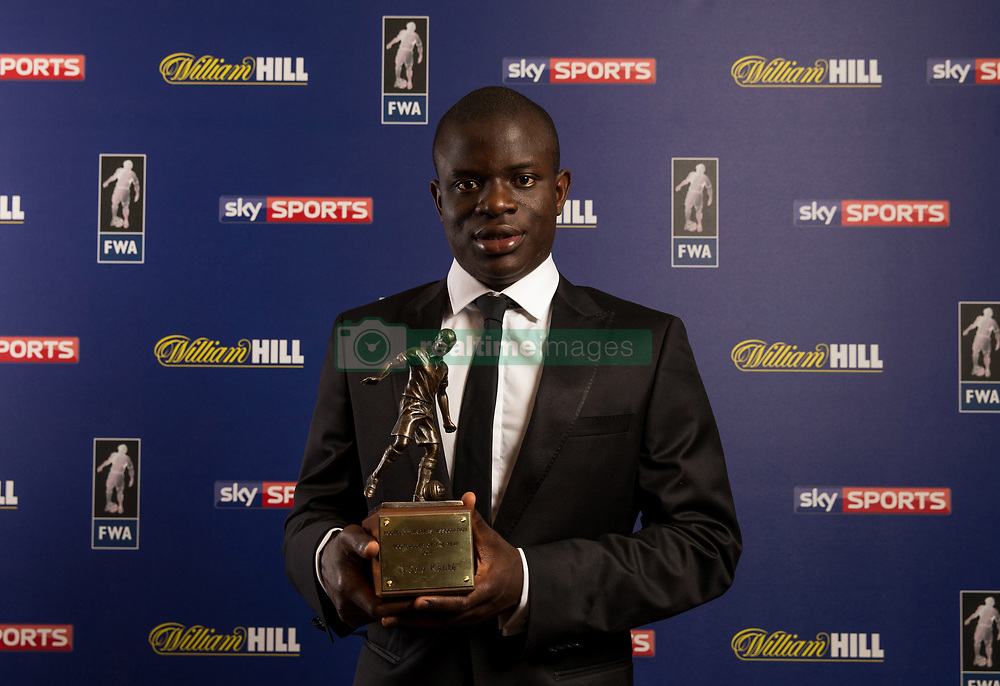 Chelsea's N'Golo Kante poses with the Footballer of the Year award during the FWA Footballer of the Year Dinner at The Landmark Hotel, London.