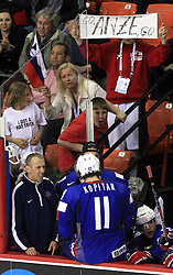 Fans of Anze Kopitar of Slovenia at ice-hockey game Slovenia vs Slovakia at second game in  Relegation  Round (group G) of IIHF WC 2008 in Halifax, on May 10, 2008 in Metro Center, Halifax, Nova Scotia, Canada. Slovakia won after penalty shots 4:3.  (Photo by Vid Ponikvar / Sportal Images)