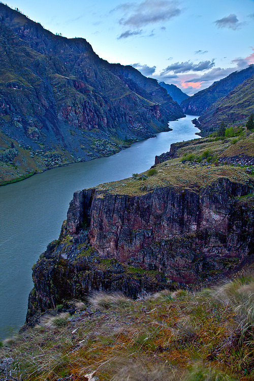 Open Edition<br /> Spring storms moves North in last light looking down river on the Snake River from Blacks Point in Hells Canyon