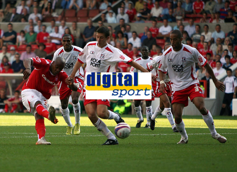 Photo: Rich Eaton. <br /> <br /> Nottingham Forest v AFC Bournemouth. Coca Cola Championship. 11/08/2007. Forest's Junior Agogo (l) fires in a late shot which is saved by the keeper.