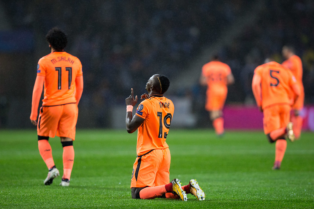 Liverpool's Sadio Mane celebrates scoring the opening goal <br /> <br /> Photographer Craig Mercer/CameraSport<br /> <br /> UEFA Champions League Round of 16 First Leg - FC Porto v Liverpool - Wednesday 14th February 201 - Estadio do Dragao - Porto<br />  <br /> World Copyright © 2018 CameraSport. All rights reserved. 43 Linden Ave. Countesthorpe. Leicester. England. LE8 5PG - Tel: +44 (0) 116 277 4147 - admin@camerasport.com - www.camerasport.com