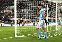 27 December 2017 Newcastle: Premier League Football - Newcastle United v Manchester City : Sergio Aguero of City looking dejected after missing a chance.<br /> (photo by Mark Leech)