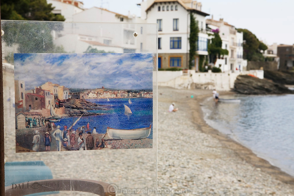 Salvador Dali painting showing the view he based the painting on. Cadaques, Costa Brava. Spain. Dali lived here.