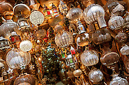 Shop with traitional moroccan and arabic lamps in the medina of Marrakech.