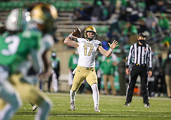 Dec 18, 2020; Huntington, West Virginia, USA; UAB Blazers quarterback Tyler Johnston III (17) throws a pass during the first quarter against the Marshall Thundering Herd at Joan C. Edwards Stadium. Mandatory Credit: Ben Queen-USA TODAY Sports