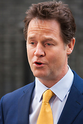 London, March 24th 2015. Members of the Cabinet gather at Downing street for their weekly meeting. PICTURED: Nick Clegg, Deputy Prime Minister addresses the press after the final cabinet meeting before the general election.