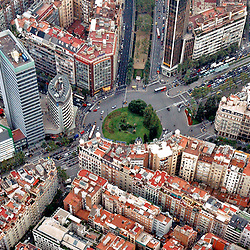 Aerial view of Barcelona housing and traffic circle