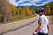 Cyclist on the San Juan Skyway (Highway 145), San Juan National Forest, Colorado