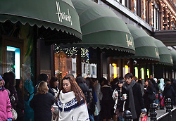 © under license to London News Pictures. 27/12/10. Shoppers queue en mass outside Harrods for the shop's 2010 Winter Sale. Credit should read Matt Cetti-Roberts/LNP
